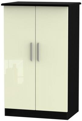 Knightsbridge 2 Door Midi Wardrobe - High Gloss Cream and Black