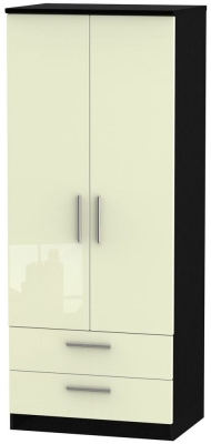 Knightsbridge High Gloss Cream and Black Wardrobe - 2ft 6in with 2 Drawer