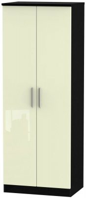Knightsbridge 2 Door Tall Wardrobe - High Gloss Cream and Black