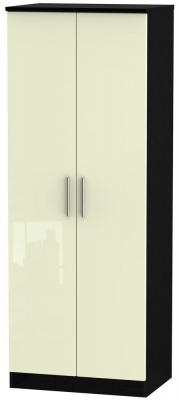 Knightsbridge 2 Door Tall Hanging Wardrobe - High Gloss Cream and Black