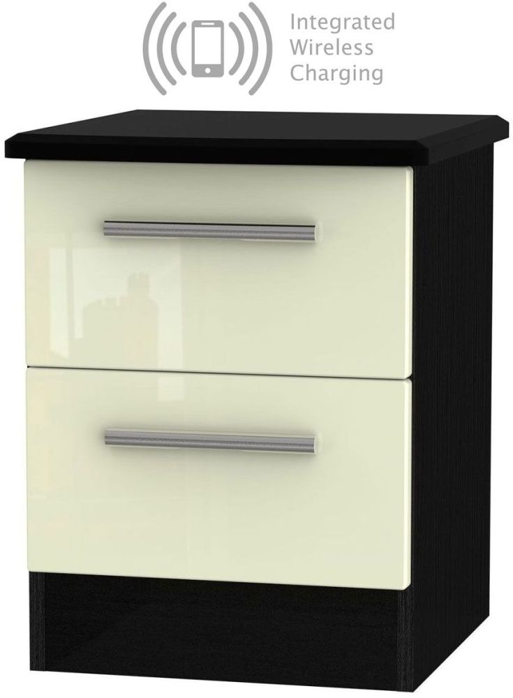 Knightsbridge 2 Drawer Bedside Cabinet with Integrated Wireless Charging - High Gloss Cream and Black