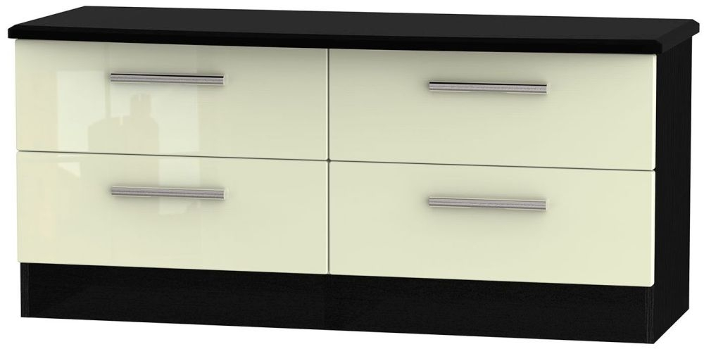 Knightsbridge High Gloss Cream and Black Bed Box - 4 Drawer