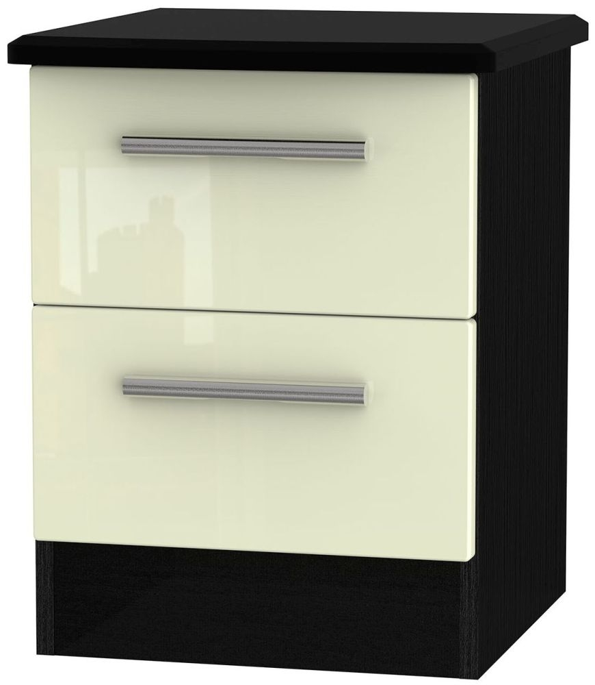 Knightsbridge High Gloss Cream and Black Bedside Cabinet - 2 Drawer Locker