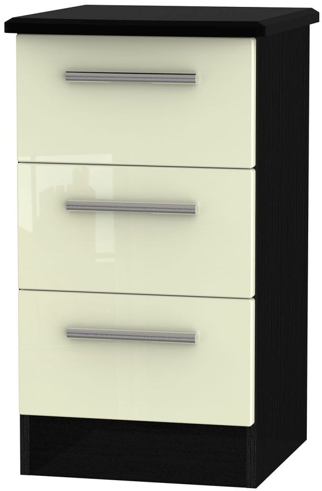 Knightsbridge High Gloss Cream and Black Bedside Cabinet - 3 Drawer Locker