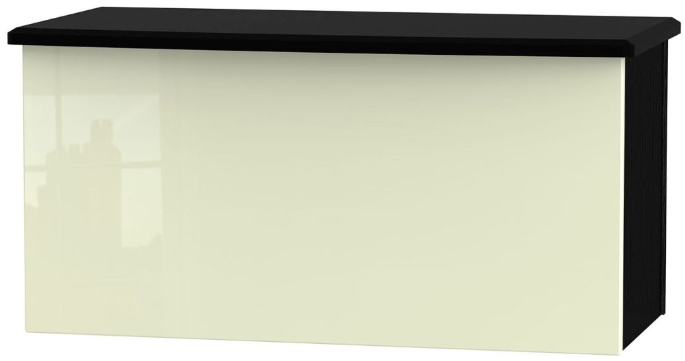 Knightsbridge High Gloss Cream and Black Blanket Box