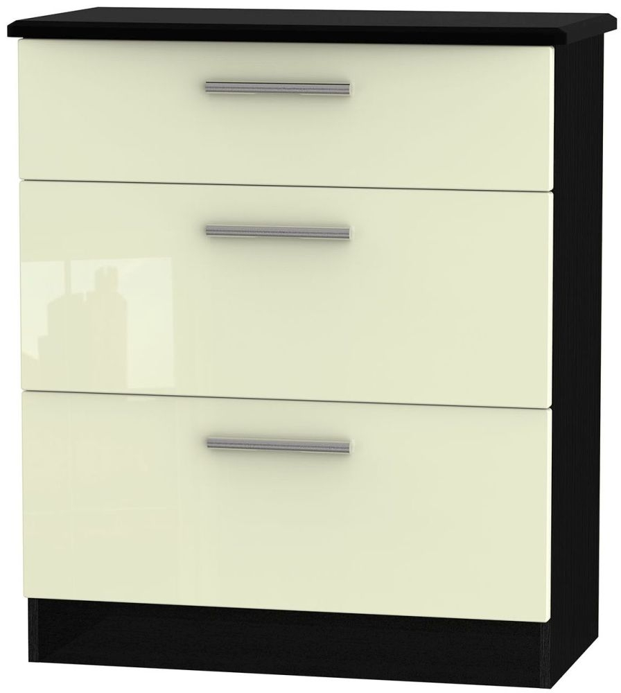 Knightsbridge High Gloss Cream and Black Chest of Drawer - 3 Drawer Deep
