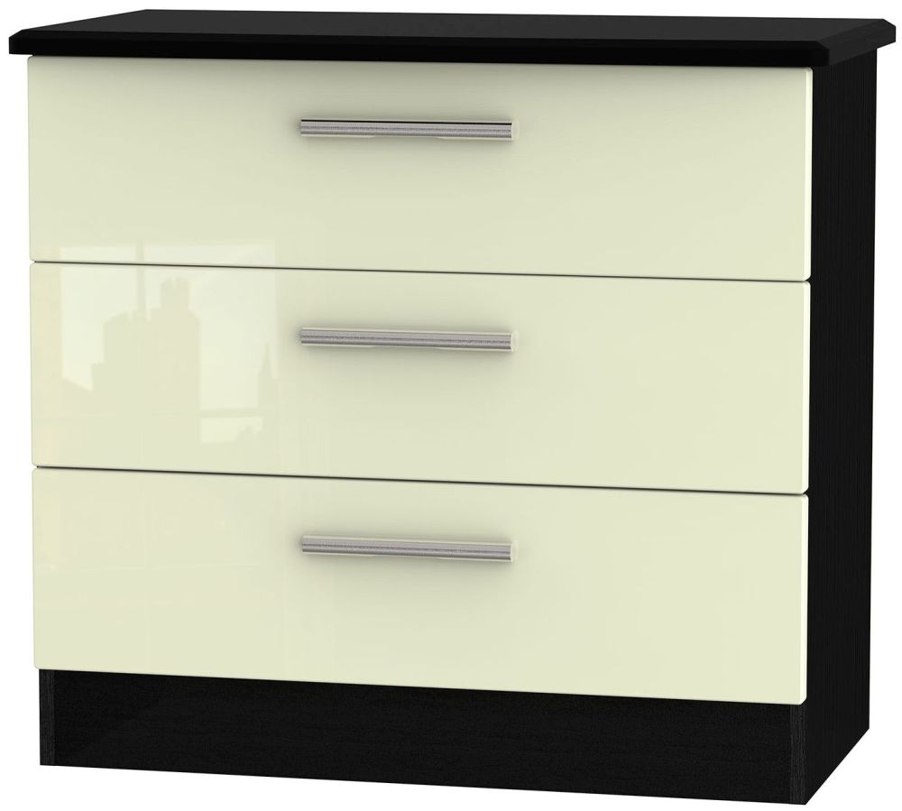 Knightsbridge High Gloss Cream and Black Chest of Drawer - 3 Drawer