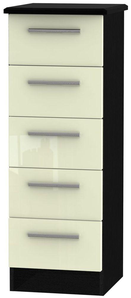 Knightsbridge 5 Drawer Tall Chest - High Gloss Cream and Black