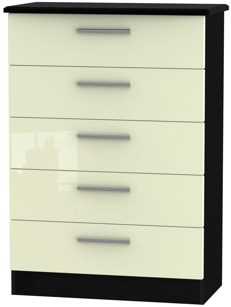 Knightsbridge High Gloss Cream and Black 5 Drawer Chest