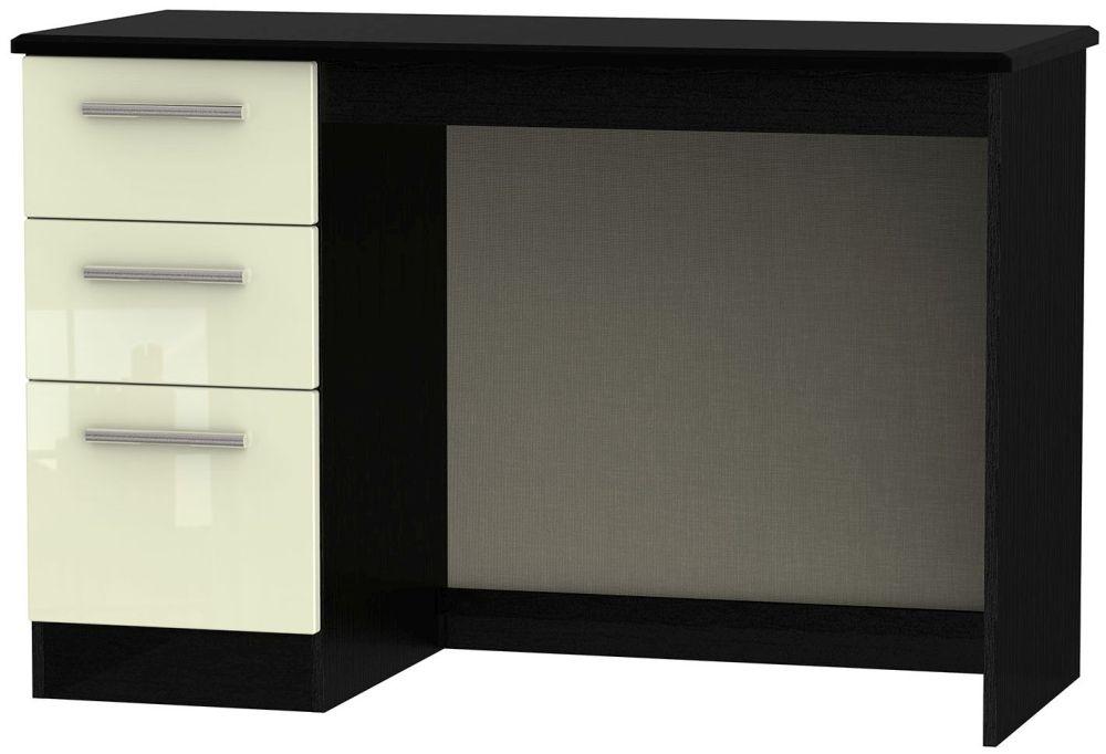 Knightsbridge High Gloss Cream and Black Desk - 3 Drawer