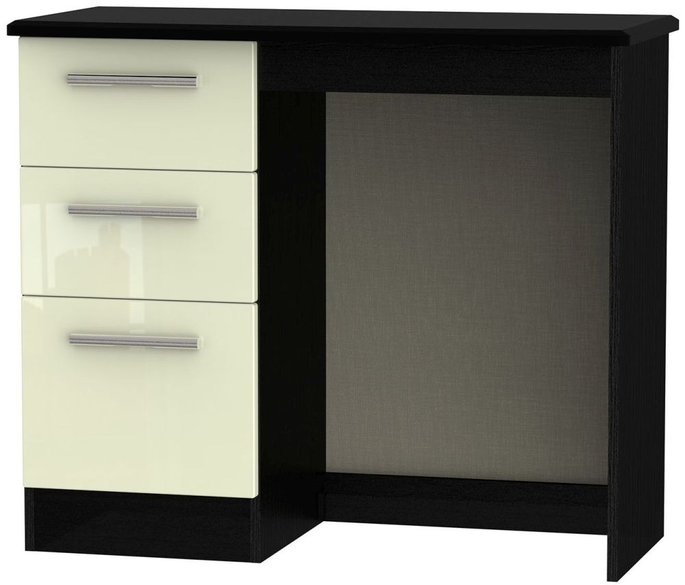Knightsbridge High Gloss Cream and Black Dressing Table - Vanity Knee Hole
