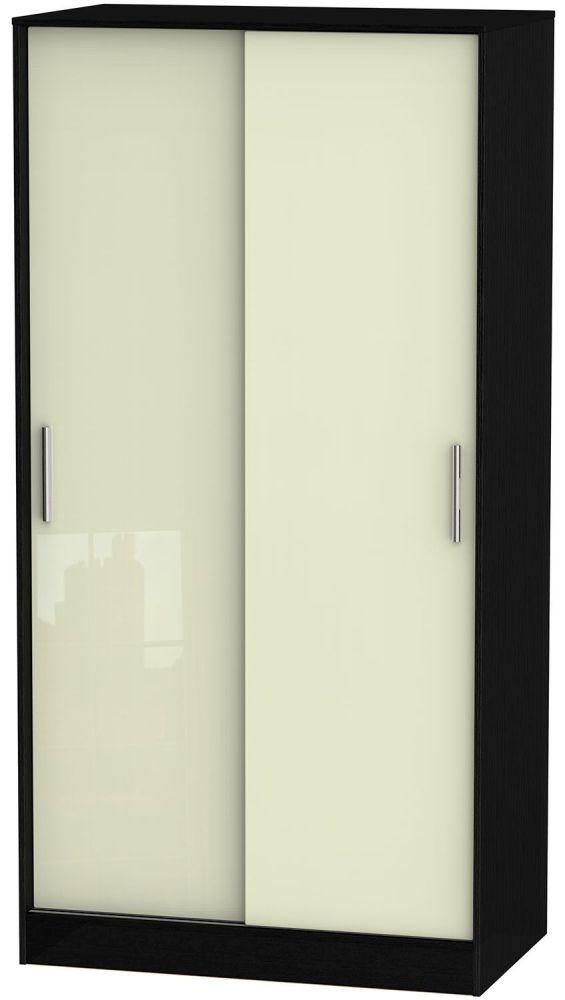 Knightsbridge High Gloss Cream and Black Sliding Wardrobe - Wide