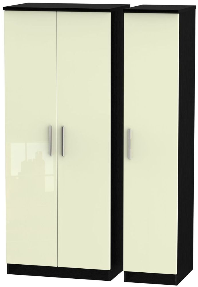Knightsbridge High Gloss Cream and Black Triple Plain Wardrobe