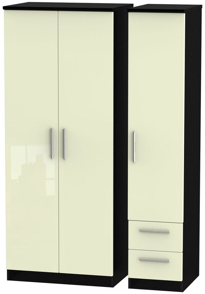 Knightsbridge High Gloss Cream and Black Triple Wardrobe - Plain with 2 Drawer