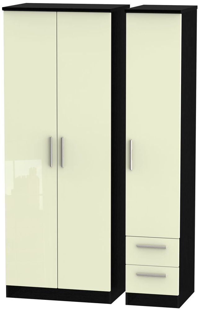 Knightsbridge High Gloss Cream and Black Triple Wardrobe - Tall Plain with 2 Drawer