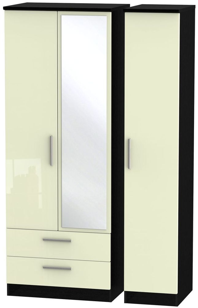 Knightsbridge High Gloss Cream and Black Triple Wardrobe - Tall with 2 Drawer and Mirror