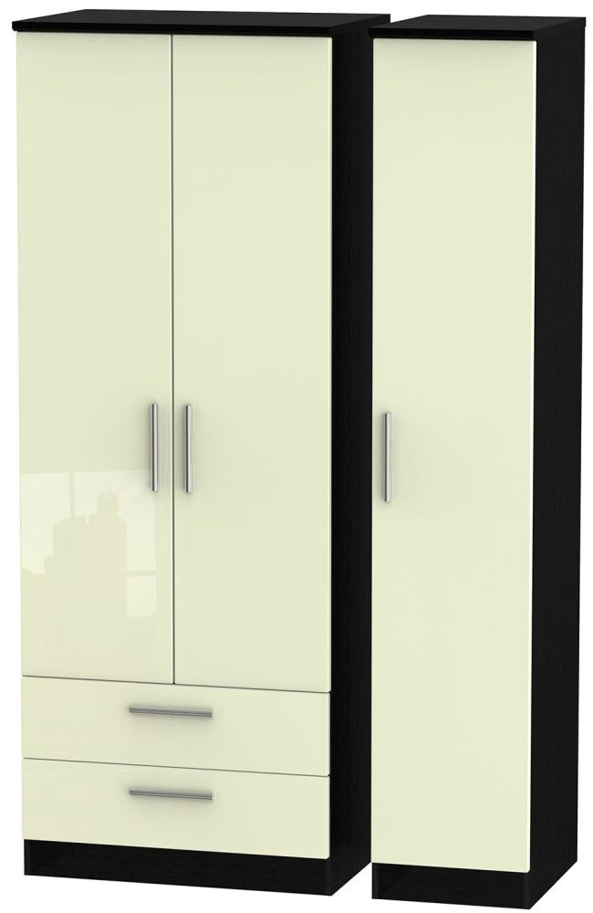 Knightsbridge High Gloss Cream and Black Triple Wardrobe - Tall with 2 Drawer