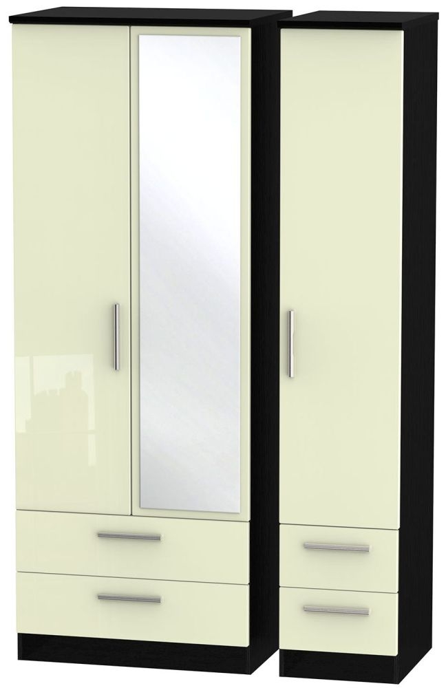 Knightsbridge High Gloss Cream and Black Triple Wardrobe - Tall with Drawer and Mirror