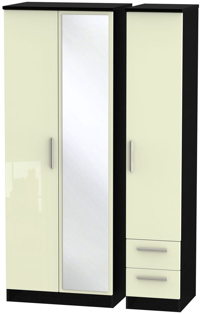 Knightsbridge High Gloss Cream and Black Triple Wardrobe - Tall with Mirror and 2 Drawer
