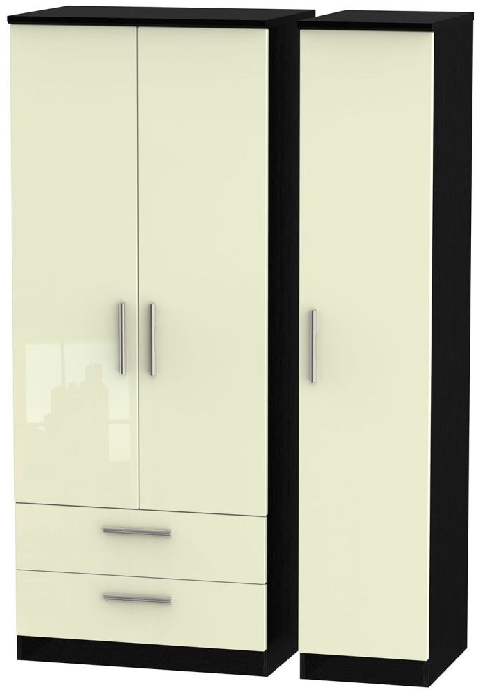 Knightsbridge High Gloss Cream and Black Triple Wardrobe with 2 Drawer