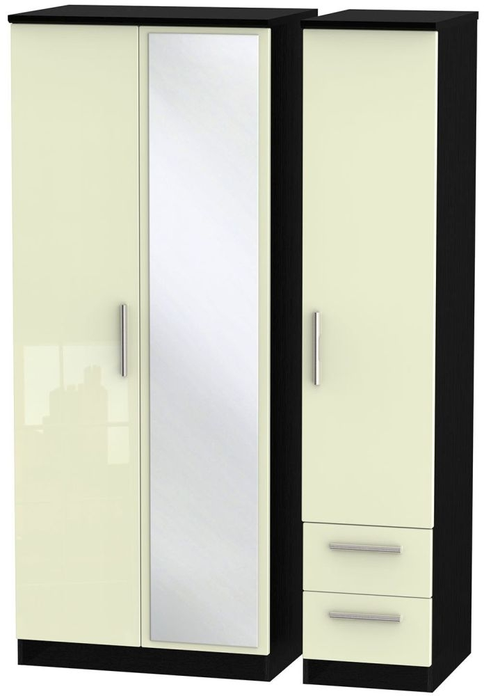 Knightsbridge High Gloss Cream and Black Triple Wardrobe with Mirror and 2 Drawer