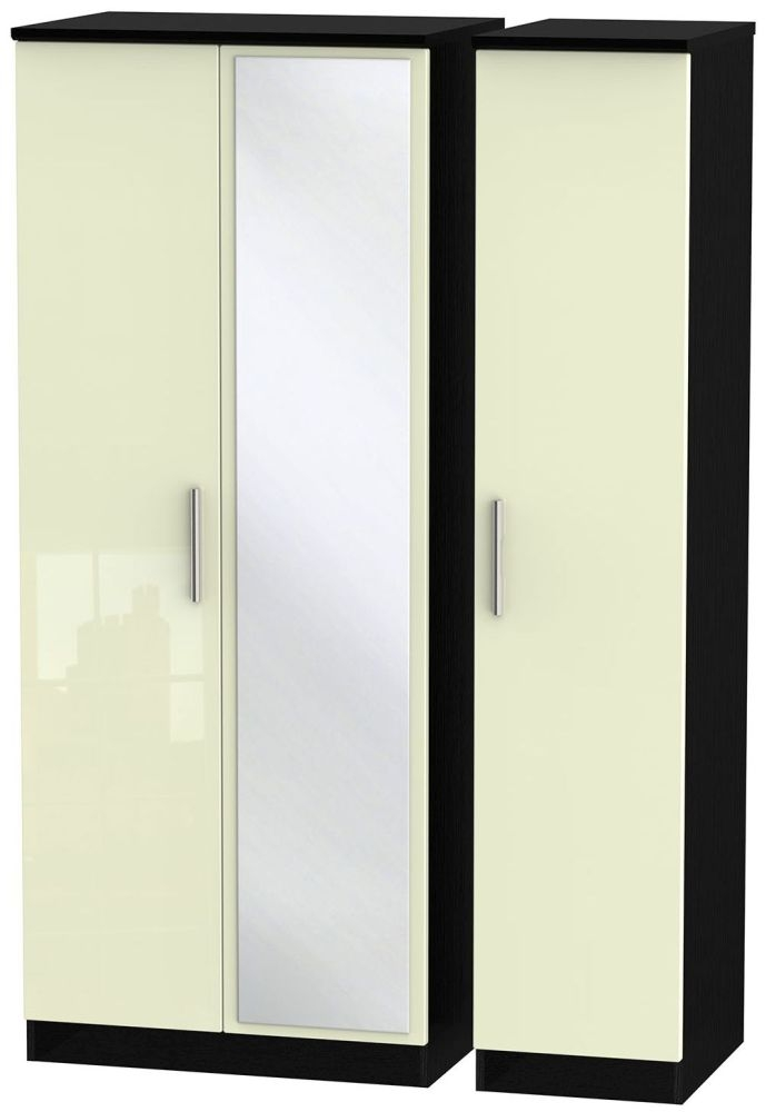 Knightsbridge High Gloss Cream and Black Triple Wardrobe with Mirror