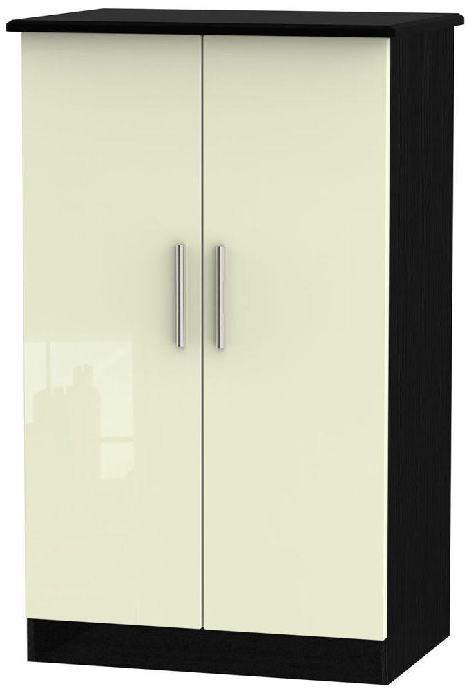 Knightsbridge High Gloss Cream and Black Wardrobe - 2ft 6in Plain Midi