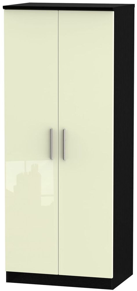 Knightsbridge High Gloss Cream and Black Wardrobe - 2ft 6in Plain