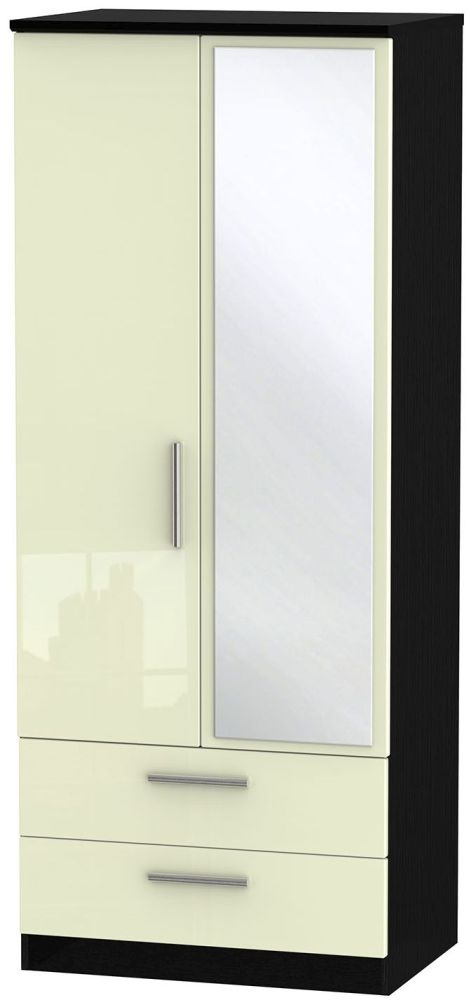 Knightsbridge High Gloss Cream and Black Wardrobe - 2ft 6in with 2 Drawer and Mirror