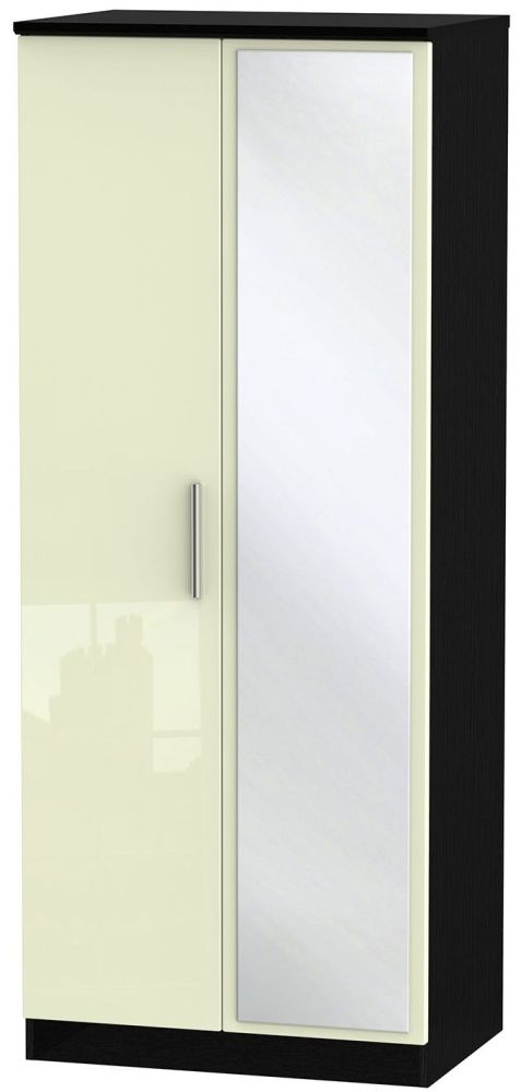Knightsbridge High Gloss Cream and Black Wardrobe - 2ft 6in with Mirror
