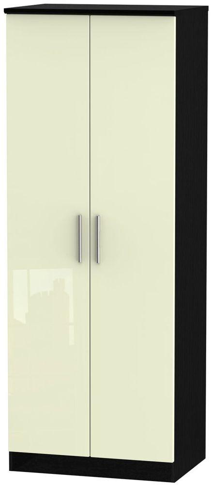 Knightsbridge High Gloss Cream and Black Wardrobe - Tall 2ft 6in Plain