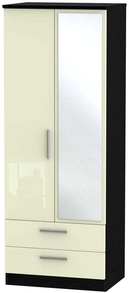 Knightsbridge High Gloss Cream and Black Wardrobe - Tall 2ft 6in with 2 Drawer and Mirror