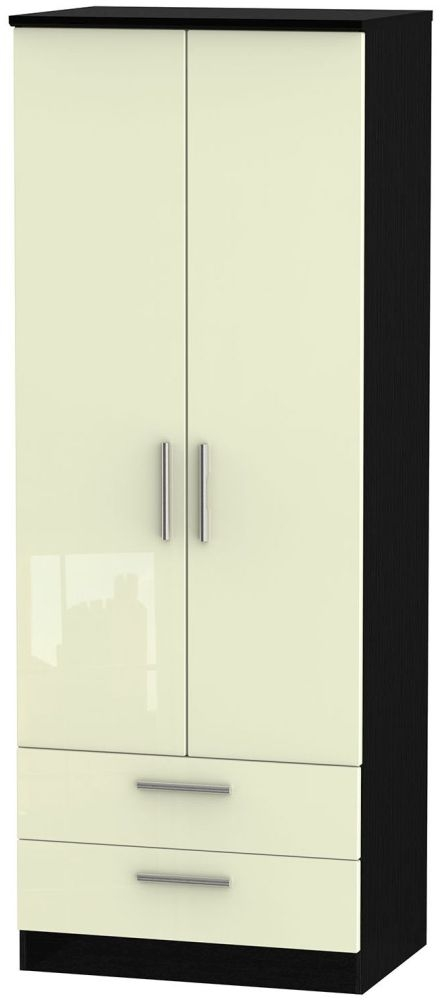 Knightsbridge High Gloss Cream and Black Wardrobe - Tall 2ft 6in with 2 Drawer