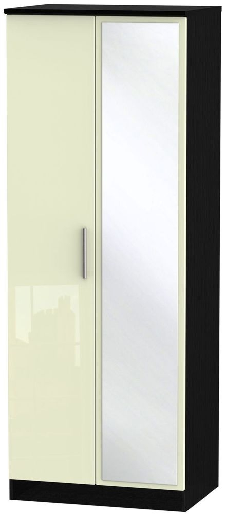 Knightsbridge High Gloss Cream and Black Wardrobe - Tall 2ft 6in with Mirror