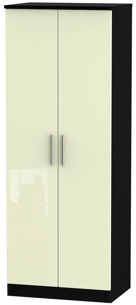 Knightsbridge High Gloss Cream and Black Wardrobe - Tall 2ft 6in with Double Hanging