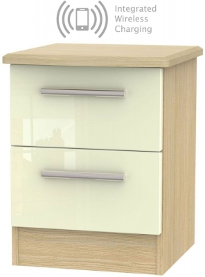 Knightsbridge 2 Drawer Bedside Cabinet with Integrated Wireless Charging - High Gloss Cream and Light Oak