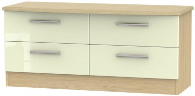 Knightsbridge Bed Box - High Gloss Cream and Light Oak