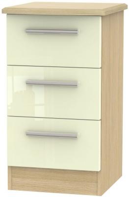 Knightsbridge 3 Drawer Bedside Cabinet - High Gloss Cream and Light Oak