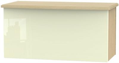 Knightsbridge High Gloss Cream and Light Oak Blanket Box