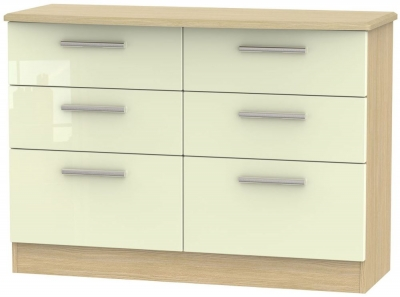 Knightsbridge 6 Drawer Midi Chest - High Gloss Cream and Light Oak