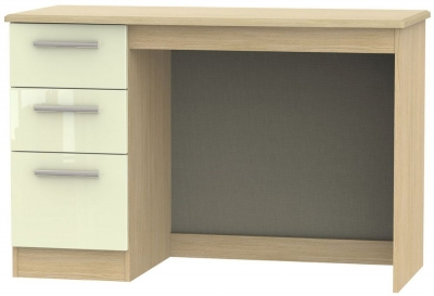 Knightsbridge Desk - High Gloss Cream and Light Oak
