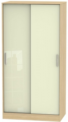 Knightsbridge 2 Door Sliding Wardrobe - High Gloss Cream and Light Oak