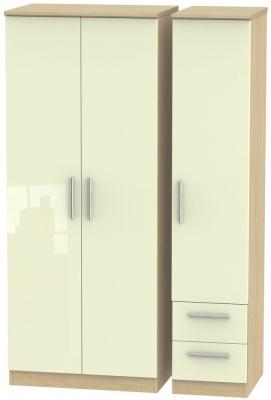Knightsbridge 3 Door 2 Right Drawer Wardrobe - High Gloss Cream and Light Oak