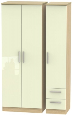 Knightsbridge 3 Door 2 Right Drawer Tall Wardrobe - High Gloss Cream and Light Oak