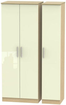 Knightsbridge 3 Door Tall Wardrobe - High Gloss Cream and Light Oak