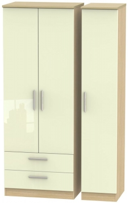 Knightsbridge 3 Door 2 Left Drawer Tall Wardrobe - High Gloss Cream and Light Oak