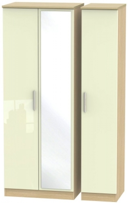 Knightsbridge 3 Door Tall Mirror Wardrobe - High Gloss Cream and Light Oak