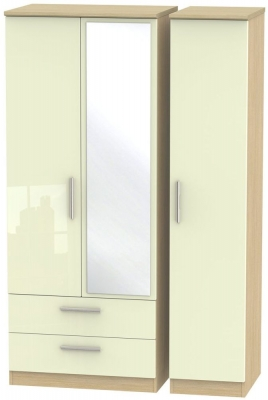 Knightsbridge 3 Door 2 Left Drawer Combi Wardrobe - High Gloss Cream and Light Oak