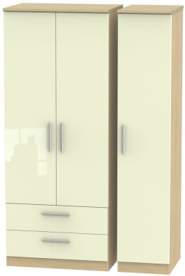Knightsbridge 3 Door 2 Left Drawer Wardrobe - High Gloss Cream and Light Oak