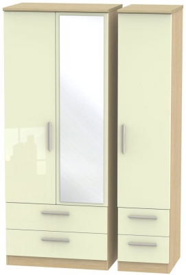 Knightsbridge 3 Door 4 Drawer Combi Wardrobe - High Gloss Cream and Light Oak